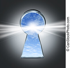 Key To Success - Key to success with an open keyhole to a ...