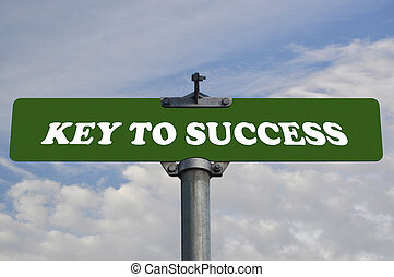 Key to success road sign