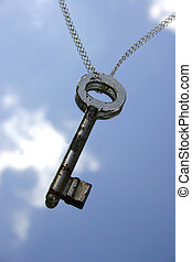 Key to Success - key and chain and blue sky