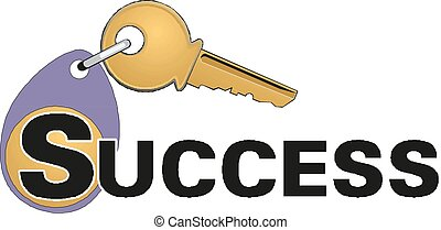 Key to success vector illustration.