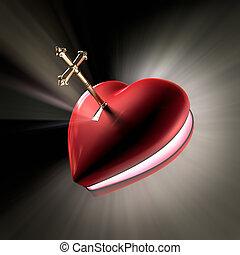 Key to the heart - A cross shaped key unlocking a heart...