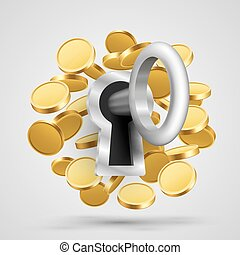 Key to the lock with coins.