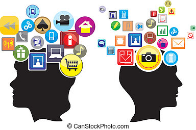 internet addiction, social networking icons, network connection, an online network