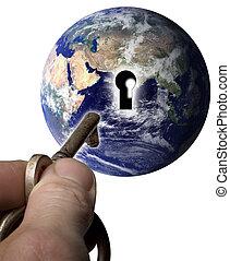 Key to the world - Earth with a keyhole