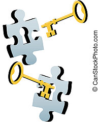 A gold or brass key to find a solution to a lock as a jigsaw puzzle piece.