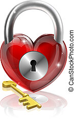 Key to your heart conceptual illustration. A heart shaped padlock with a brass key.
