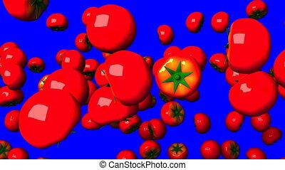 key., tomates, bleu, chroma