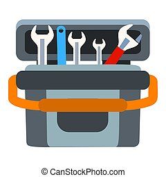 Key tool box icon, flat style