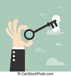 Key - Unlocking, key in hand %u2013 vector illustration