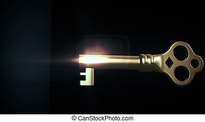 Key unlocking lock and door opening to a bright light. HD 1080. Alpha mask included.