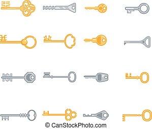 Key vector flat icons set