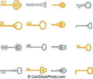 Key vector flat icons set