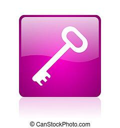 key violet square web glossy icon