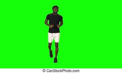 key., vue., américain, homme, écran, chroma, africaine, vert, courant, devant
