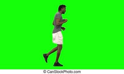 key., vue., américain, profil, homme, écran, chroma, africaine, vert, courant