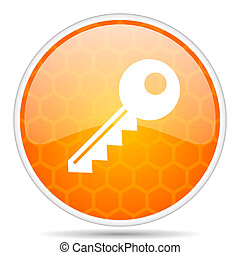 Key web icon. Round orange glossy internet button for webdesign.