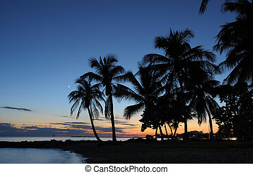 Key West Beach after Sunset, Florida Keys USA