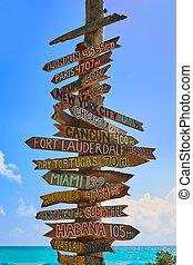 Key West beach distance signs to landmarks - Key West beach ...