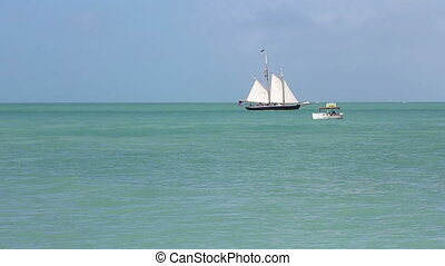 Key West Florida sailing on the seas of blues - Sail boat in...