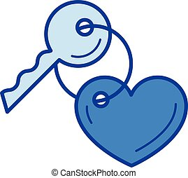 Key with a trinket in the shape of heart line icon