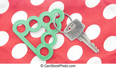 key with blank tag in the form of a Christmas tree