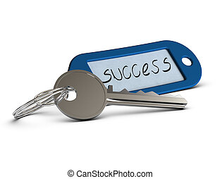 key with blue keyring where it's written the word success, concept image over white background