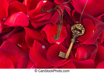 Key with crimson rose petals
