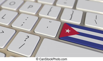 Key with flag of Cuba on the keyboard switches to key with flag of Germany, translation or relocation related animation