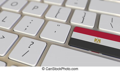 Flags on the buttons on the computer keyboard. 3D