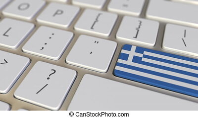 Key with flag of Greece on the keyboard switches to key with flag of Germany, translation or relocation related animation
