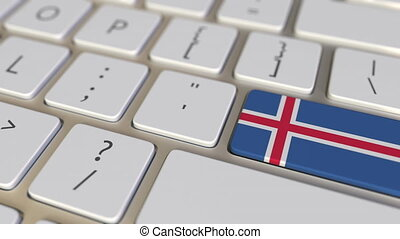 Key with flag of Iceland on the keyboard switches to key with flag of Germany, translation or relocation related animation