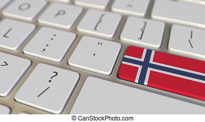Key with flag of Norway on the computer keyboard switches to key with flag of the USA, translation or relocation related animation