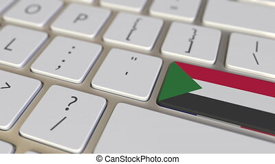 Key with flag of Sudan on the computer keyboard switches to key with flag of France, translation or relocation related animation