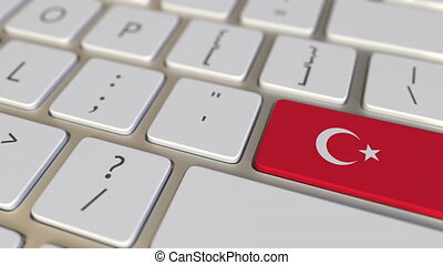 Key with flag of Turkey on the computer keyboard switches to key with flag of China, translation or relocation related animation