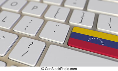 Key with flag of Venezuela on the computer keyboard switches to key with flag of China, translation or relocation related animation