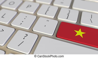 Key with flag of Vietnam on the computer keyboard switches to key with flag of China, translation or relocation related animation