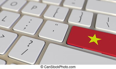 Key with flag of Vietnam on the computer keyboard switches to key with flag of France, translation or relocation related animation