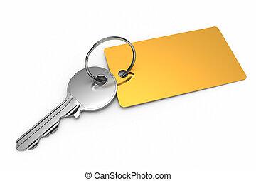 Key with golden keyring isolated on white background