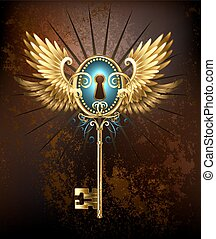 Key with golden wings - Steampunk golden key with mechanical...