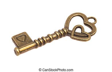 Key with heart shape isolated on white background