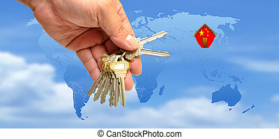 Key with house