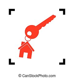 key with keychain as an house sign. Vector. Red icon inside black focus corners on white background. Isolated.