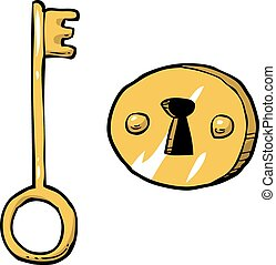 Key with keyhole - Cartoon doodle key with keyhole vector...