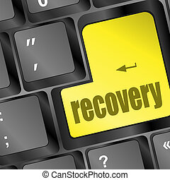 key with recovery text on laptop keyboard