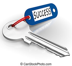Key With Success Word Showing Winning Or Achievement