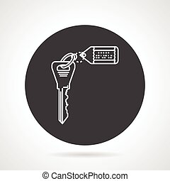 Key with tag black round vector icon