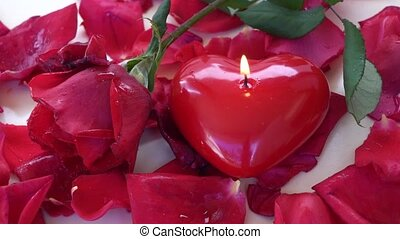 Burning candle heart with fresh rose and petals