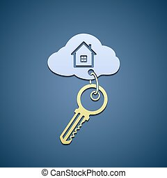 Key with trinket from the home. Flat graphics. Stock vector...