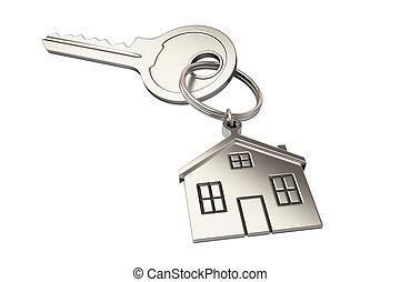house key on black background