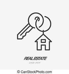 Key with trinket house on ring flat line icon. Vector thin...